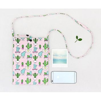 Mini Crossbody Cactus Bag in Pink and Green