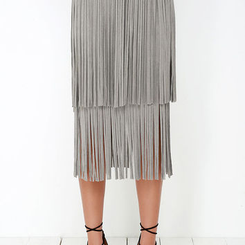 Great Plains Grey Suede Fringe Skirt