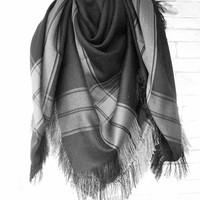 Black Blanket Scarf , Women Scarf
