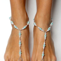 Simple Blue Pearl Beads Chain Toe Beach Anklet Yoga Dance Elastic Gift Fashion Foot Wedding Accessories Jewelry Anklets