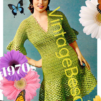 Ladies Dress Crochet Pattern • PdF Pattern • Sexy Modern Ruffle Dress Crochet Pattern • Made with the Super Fun SHELL Stitch • Vintage 1970s
