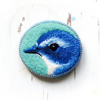 Blue  bird . brooch . handmade . felt . needle felted . hand embroidered . animal
