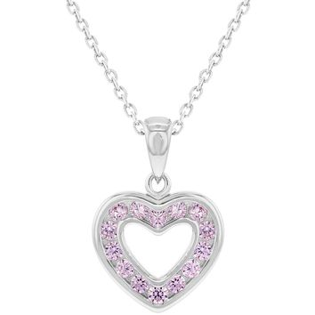 925 Sterling Silver Pink CZ Small Open Heart Pendant Necklace for Girls 16""