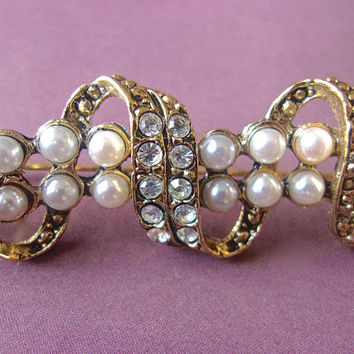 Pearl & Rhinestone Spiral Bar Brooch Pin, Vintage Over 3 Inches