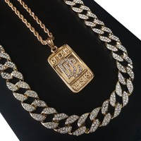 """14k Gold PT Meek Mill Dream Chasers 15mm Iced Out Miami Cuban 30"""" Necklace S171"""