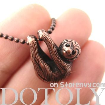 Sloth Baby Animal Pendant Necklace Realistic and Cute in Copper