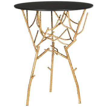 Safavieh Tara Gold and Black Glass Top End Table-FOX2520B - The Home Depot