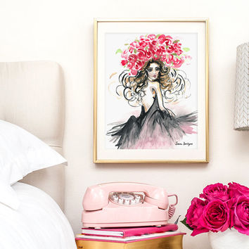 "Fashion Illustration Watercolor // Girly Art Print // Girl Room Decorations // Feminine Wall Art // Standard Sizes: 5x7"", 8x10"", 11x14"""