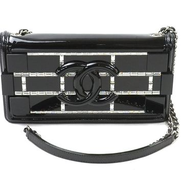 Auth CHANEL Lego Flap Crossbody Shoulder Bag Black/Clear Plexiglass - 93892