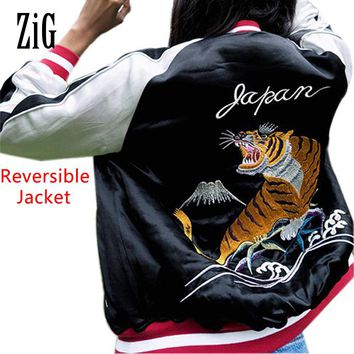 Satin embroidery bomber jacket women two sides wear reversible tiger eagle souvenir jacket coat Casaul baseball jacket sukajan