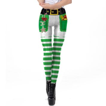 Stripes Print Elastic Women Skinny Christmas Leggings Pants