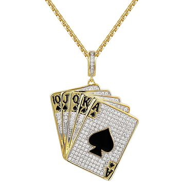 14k Gold Finish Ace & Spade Playing Cards Poker Silver Pendant Chain