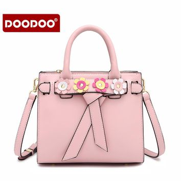 DOODOO Women fashion PU Leather Handbag Girls Top-Handle Bag  Vintage Satchel Handbag
