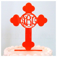 Monogrammed Cross Cake Topper - Baptism Christening Confirmation Party - Religious Wedding Decor - 32 Color Options
