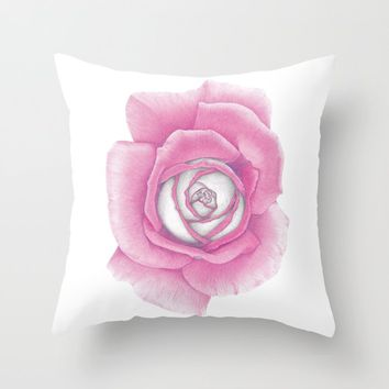 Pink Rose Throw Pillow by drawingsbylam