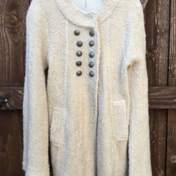 Free People Double Breasted Sweater Coat Sergeant Bell Sleeve
