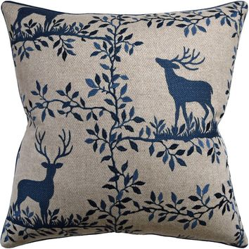 Caribou Embroidery Navy Decorative Pillow