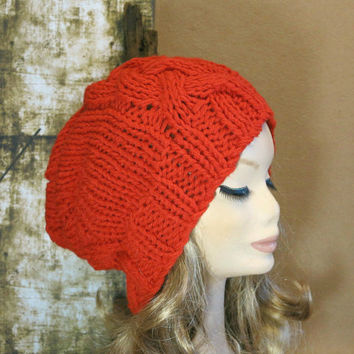 Hand Knit, Slouchy Beanie, Cable Hat, Women Men Slouchy Beanie, Knit Hat, Chunky Knit, Winter Fall Accessories, Slouchy, Knitted Red