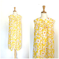 Vintage Yellow Sundress  - 60s dress - floral day dress -aline - shift dress - XL - Plus Size