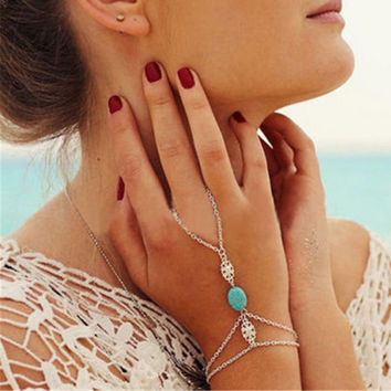 Turquoise Celebrity Multi Chain Tassel Bracelet Slave Finger Chain Hand Harness Silver Plated Bangle Bohemian Jewelry