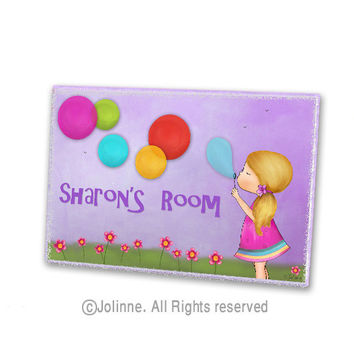 Purple door sign for girls room  Personalized door sign  kids room   girls  room. Best Kids Room Door Sign Products on Wanelo