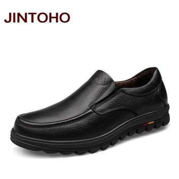 JINTOHO big size 38-47 mens dress italian leather shoes luxury brand mens loafers genuine leather formal loafers moccasins men