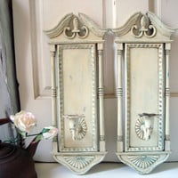 Antique White Vintage Candle Holder Sconces, French Cottage Distressed Patina Wall Sconce, Candlestick Holders, Shabby Chic Home Decor