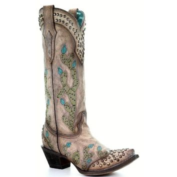 Corral Tobacco Nopal Embroidery & Studs Boot