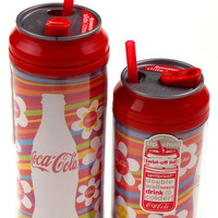 Coca Cola Travel Cups Set 2 Bottle Flowers Stripes 12 & 16 oz Straws Double Wall