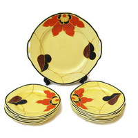 Art Deco Cake Plates and Platter. Set of Dessert Plates. Ditmar Urbach Hand Painted Orange Flower Plates. Decorative Wall Plates,