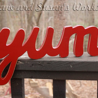 yum Sign, Wall hanging, Wooden eat sign, kitchen sign, wooden letters, home decor, wood sign, Housewares, Wall Decor