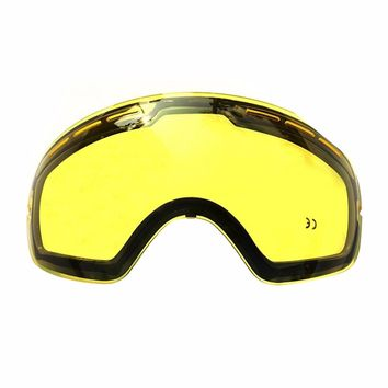 Double Ski Goggles Lens Anti-fog UV Protection Glasses Night Weak Light Tint Weather Cloudy Brightening Lens for GOG-201
