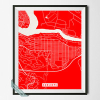 Kamloops Street Map, Canada Poster, Kamloops Print, Canada Map Print, British Columbia, Home Decor, Dorm Wall Art, Back To School