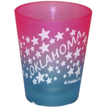 """oklahoma shot glass 2.25h x 2"""" w frosted colored w Case of 96"""