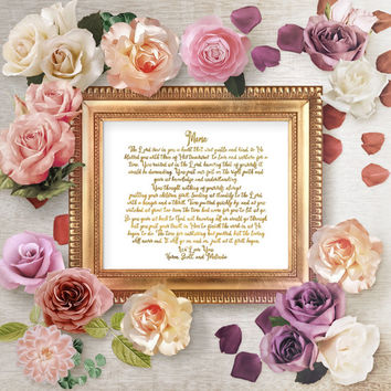 Personalized Mother Poem Art Print, Personalized Mom Poem Gift, Personalized Mother's Day Wall Art Gift, Christian Gift For Mom, Gold Decor