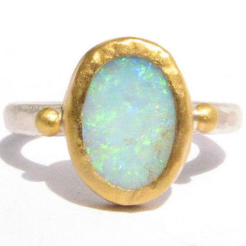 Rough Australian Opal Ring - 24k Solid gold and Silver Ring - Natural Opal Ring - Gemstone Ring - Stackable Ring.