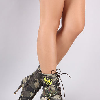 Camouflage Military Patch Lace Up Booties | UrbanOG
