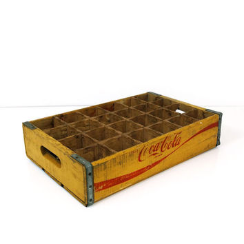 1978 Yellow divided Coca cola crate, wood soda crate, Temple Chattanooga coke collectible