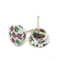 Ruby and Emerald Earrings, Sterling Silver and Gemstone Earrings, Ruby and Emerald Flower Earrings, Ruby and Emerald Jewelry, Fine Jewelry