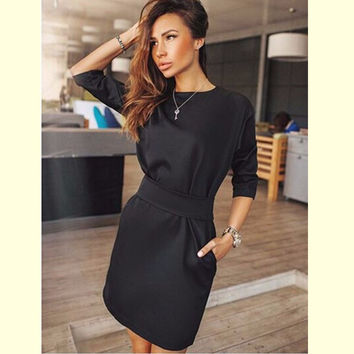 New arrival 2016 Autumn Fashion Women Black dress runway elegant ukraine plus size two side pocket women clothing