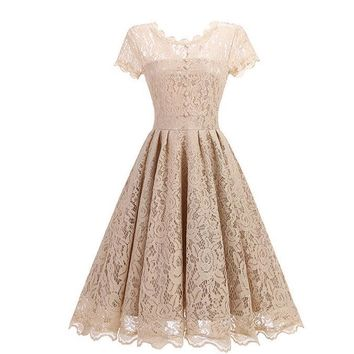 2018 Vintage Tunic Lace Dress Female Robe Casual 1950s Rockabilly Short Cap Sleeve V-Back Swing Summer Dresses Vestido de festa