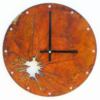 Shattered Metal Wall Clock I (Rusted)
