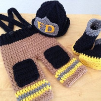 Newborn Infant Baby Photography Prop Handmade  Knit Crochet Firefighter baby boy clothes fireman Caps Overall Boots set (Color: Yellow) = 1958209348