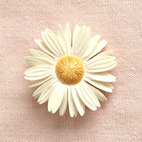 Vintage Carved Celluloid Daisy Brooch, Collectible 1940s Flower Pin, Dimensional Yellow & White Daisy Pin.