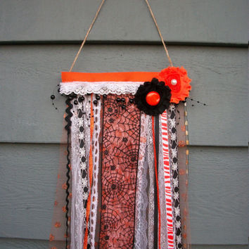 Halloween Flag Banner Wall Decor Rustic Cottage Chic Vintage Lace Button Detail, One of a Kind