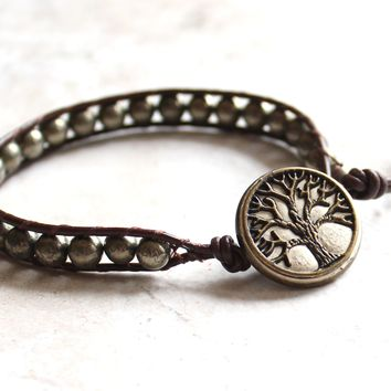 Pyrite tree of life bracelet