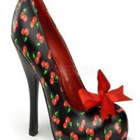 Black Red Faux Leather Cherry Print Bow Accent Heels @ Wowpink Heel Shoes online store sales:Stiletto Heel Shoes,High Heel Pumps,Womens High Heel Shoes,Prom Shoes,Summer Shoes,Spring Shoes,Spool Heel,Womens Dress Shoes,Prom Heels,Prom Pumps,High Heel Sand