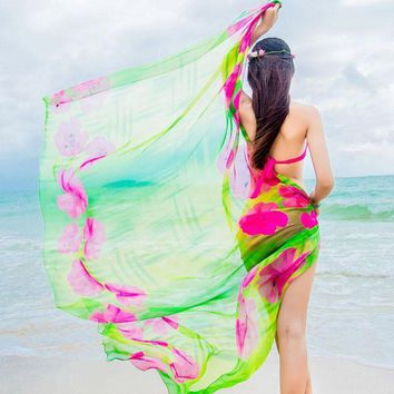 DKLW8 Scarves Beach Cover up Pareo Hibiscus Print Chiffon Sexy Women Sarongs Swim Bikini Cover Up Wraps Scarf