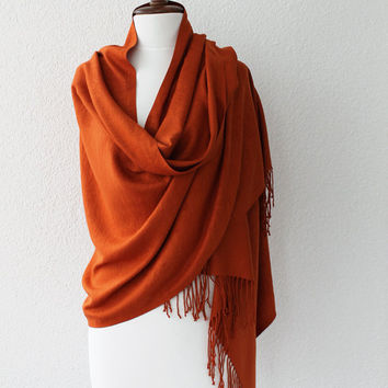 Pashmina Scarf Large Scarf Oversize Scarf Women Fashion Accessories Gift Ideas For Her Brick Color