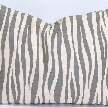 GRAY ZEBRA PILLOW.12x16 or 12x18 inch.Pillow Covers.Printed Fabric Front and Back.Gray and Yellow.Housewares.Home Decor